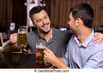 酒吧, 放松, 人, pub., 年輕, 快樂, 啤酒, 二, 喝酒