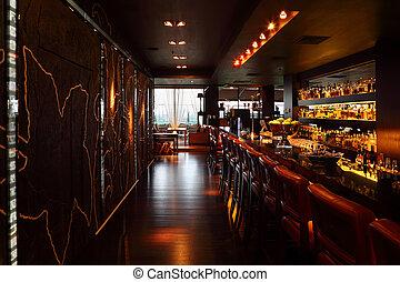酒吧, 架子, 椅子, 計數器, 舒適, 紅色, 簽, restaurant;, 高, 空, 喝