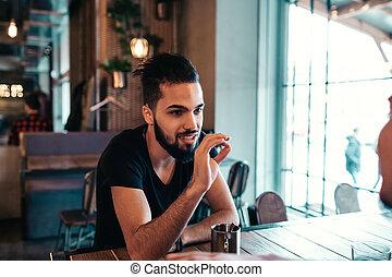 酒吧, 閣樓, 茶, 人, 年輕, 休息室, 談話, 窗口, 阿拉伯, cafe., 懸挂, 喝酒, 朋友, 愉快