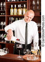 酒吧, 餐館, 侍者, 傾瀉, 玻璃酒