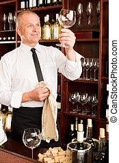 酒吧, 餐館, 侍者, 玻璃, 打掃, 酒