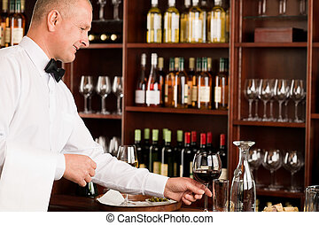 酒吧, 餐館, 侍者, 發球, 玻璃, 成熟, 酒