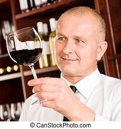 酒吧, 餐館, 侍者, 看玻璃, 酒