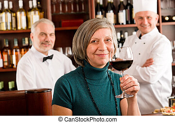 酒吧, 餐館, 味覺, 玻璃, 經理, 紅的酒
