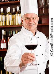 酒吧, 餐館, 廚師, 玻璃, 烹調, 握住, 酒