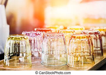 酒吧, 餐館, 發球, 水玻璃, 打掃, 喝酒