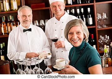 酒吧, 餐館, 經理, 微笑, 酒, 人員