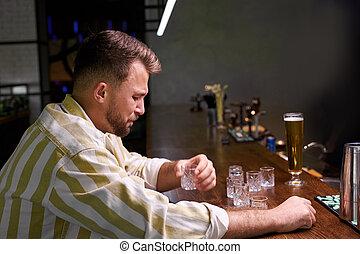 酒吧, 高加索人, 人, 麻煩, 被蕭條, 生活, 年輕, 有
