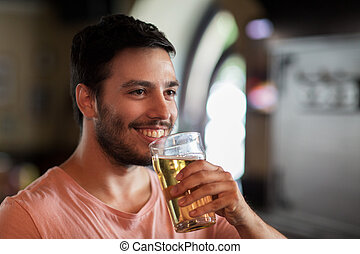 酒吧, pub, 啤酒, 喝酒, 人, 或者, 愉快