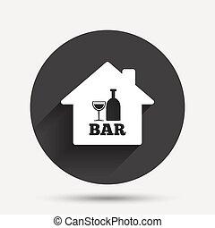 酒吧, pub, 簽署, 玻璃。, 瓶子, icon., 或者, 酒