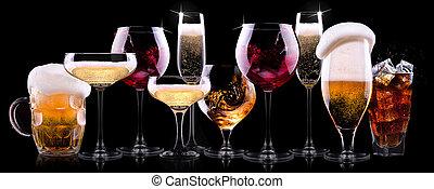酒精, 喝, 不同, 集合