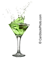 酒精, 雞尾酒, 被隔离, 飛濺, 綠色白色