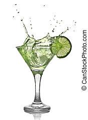酒精, 雞尾酒, 被隔离, 飛濺, 綠色白色, 石灰