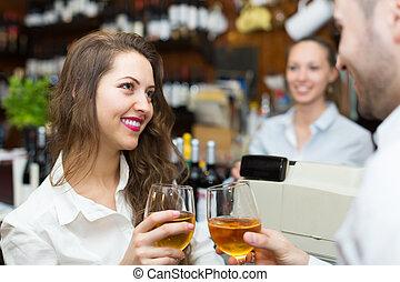 酒, 夫婦, 年輕, 酒吧