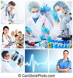 醫學, laboratory., 醫生, collage.