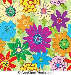 重复, 花, 鮮艷, seamless, 背景