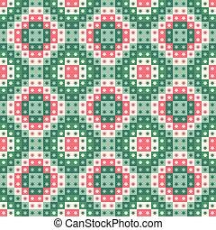 重覆, 喜慶, 圖案, seamless, 聖誕節, stars., 矢量, 設計, 綠色, 幾何學, 正方形, red.