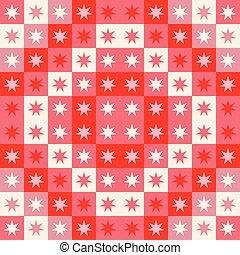 重覆, cream., 喜慶, 圖案, seamless, stars., 矢量, 設計, 幾何學, 正方形, 聖誕節, 紅色