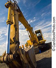 重, 建設, 義務, worksite, 設備, 停放