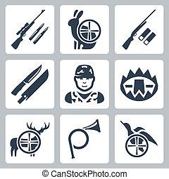 野兔, 打獵, 圖象, 角, hinting, set:, 獵槍, 鹿, 矢量, 獵人, 鞘, 鴨子, 俘獲, 步槍, 刀, 狙擊手