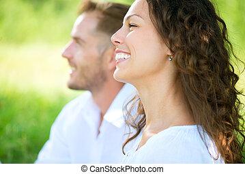 野餐, 放松, 夫婦, park., 微笑高興