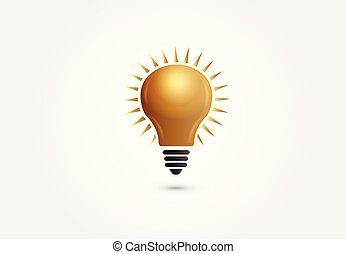 金光, 符號, 想法, 創造性, 矢量, 燈泡, logo.