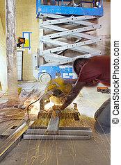 金屬工人, 切, 大頭釘, 桌子, 建設, 看見