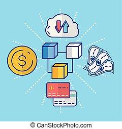 金融, 硬幣, 技術, 美元, 集合, 圖象