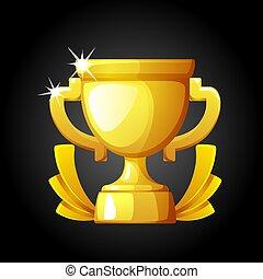 金, 插圖, cup., 胜利者, 矢量