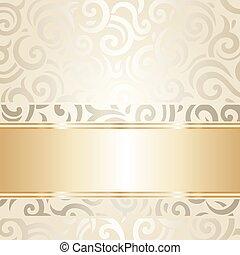 金, 牆紙, 葡萄酒, &, 白色