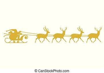 金, 聖誕老人, 馴鹿, silhouette., sleigh
