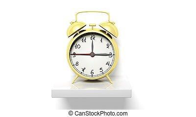 金, 鐘, 牆, 架子, 警報, retro, 白色