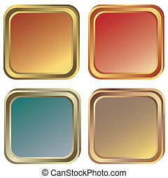 金, 青銅, (vector), 框架, 集合, 銀