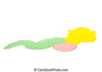 釘子, 黃色, 擦亮, 背景, 被隔离, 粉紅色, 綠色, 污點, 白色