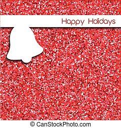 鈴, 簡單, 在上方, 設計, 卡片, 背景, 閃光, 聖誕節, 紅色