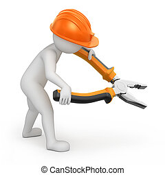 鉗子, repairman, flat-nose