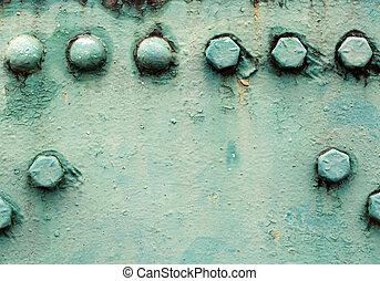 鉚釘, 橫樑, 繪, 綠色, nut., 金屬