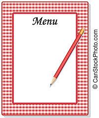 鉛筆, 方格花布, 檢查, 菜單, 框架