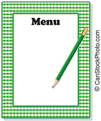 鉛筆, 方格花布, 綠色, 菜單, 框架