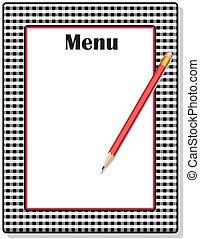 鉛筆, 方格花布, 黑色, 菜單, 框架