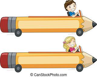 鉛筆, 旗幟, 汽車