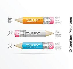 鉛筆, 正文, 箱子, infographics, 矢量, 圖象