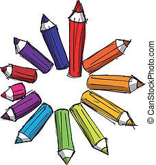 鉛筆, 略述, 上色, lengths., 插圖, 矢量, 各種各樣