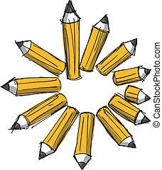 鉛筆, 略述, lengths., 插圖, 矢量, 各種各樣