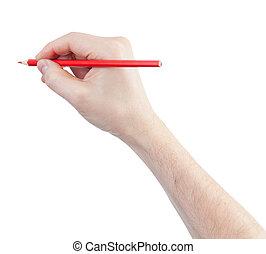 鉛筆, 白色, 被隔离, 紅色, 手
