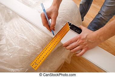 鉛筆, 相片, 統治者, 用功, 向上, 當時, 木頭, 藏品, 標記, 關閉, 桌子, 做