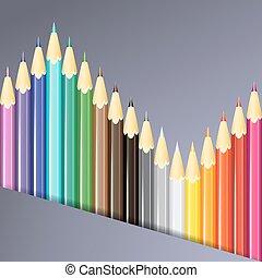 鉛筆, 矢量, illustration., 鮮艷, 背景。