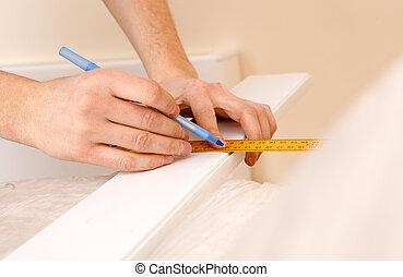 鉛筆, 統治者, 用功, 向上, 當時, 木頭, 藏品, 標記, 關閉, 做, 桌子, 看法