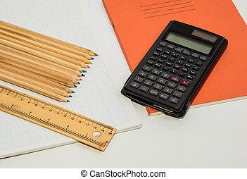 鉛筆, 計算器, 一些