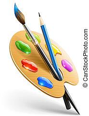 鉛筆, 調色板, 藝術, 染料灌木地帶, 工具, 圖畫